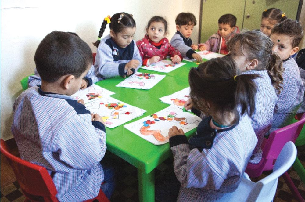 Refugee children at school