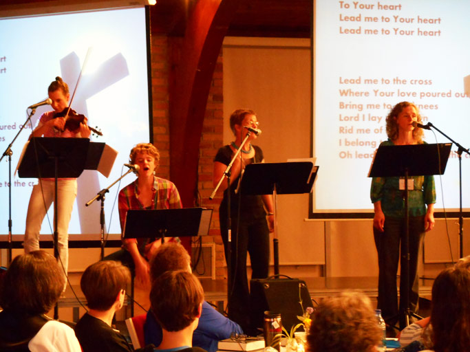 Women from Harrisonburg Mennonite Church lead worship