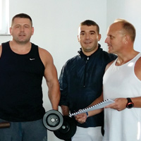 Vince Ramella and gym mates, Kosovo