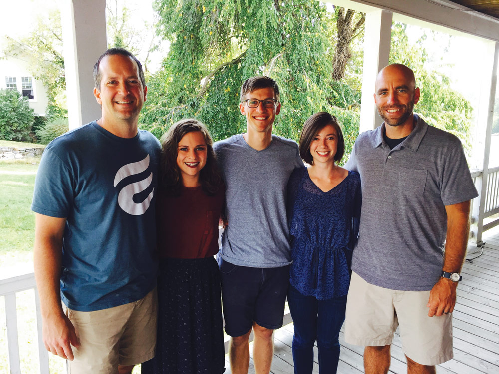 Multiplying disciples: Eastside Church Lead Pastor Peter Eberly (left) and Associate Pastor Matt Schwartz (right) with VMMissions workers (l-r) Taryn Zander, serving in global refugee short-term missions, and Tyler and Kendra Yoder, serving at 264 OSH, a house ministry primarily building relationships with college students for outreach and discipleship. Photo courtesy of author