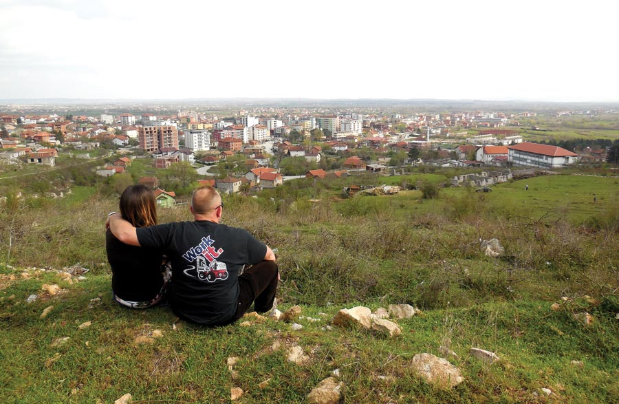 LaVonne and Vince Ramella overlook and pray for Istog, Kosovo, where they serve.  Photo courtesy of Vince Ramella