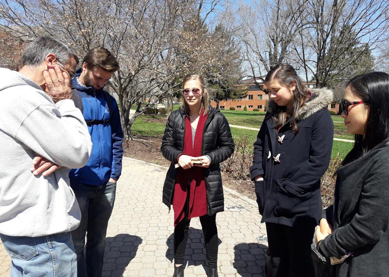 Rachel Yoder (center) provides leadership for a weekly prayer time on the campus of Eastern Mennonite University.  Photos courtesy of Rachel Yoder