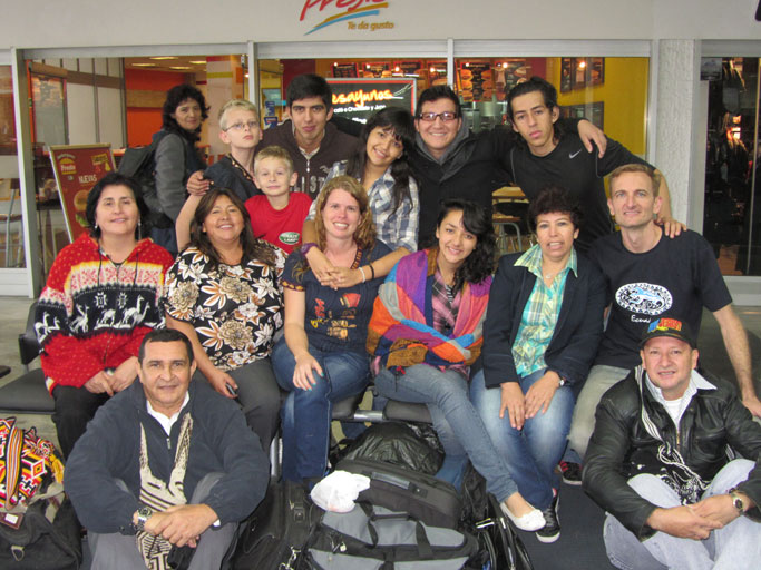 The Witmer family and their Colombian friends say goodbye in the airport.