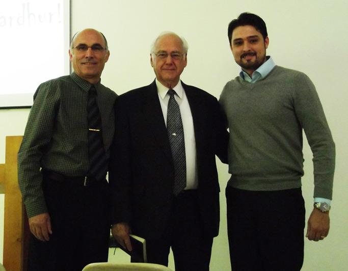 Myron Augsburger joins church leaders Dini Shahini and Rafael Tartari in  discussions of leadership.