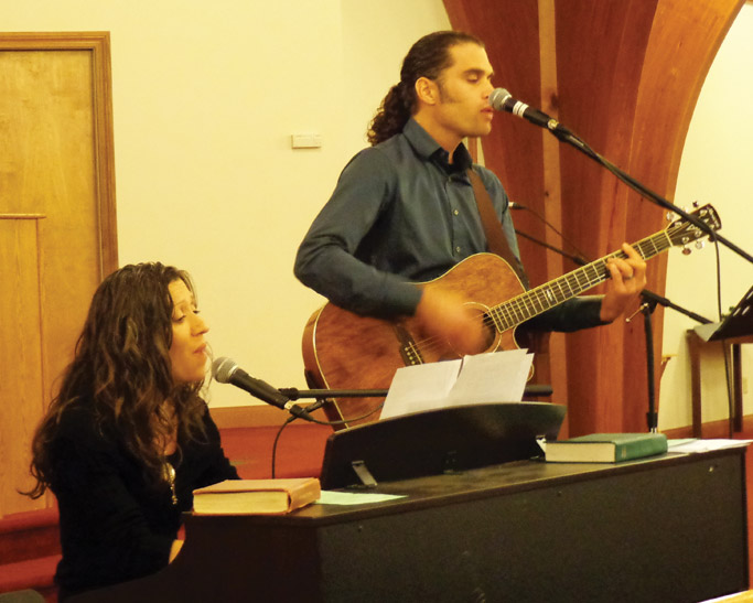 Maurita and Mike Eberly, daughter and son of Willard and Eva, performed a medley of Italian worship songs that had been significant for their parents. Photo by Ken Horst