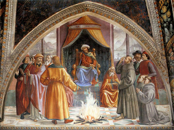 The Trial by Fire, St. Francis before the Sultan of Egypt. Domenico Ghirlandaio, 1485