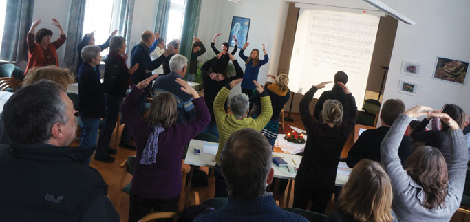 Worship service at the church in Bammental, Germany, where David & Rebekka Stutzman serve.