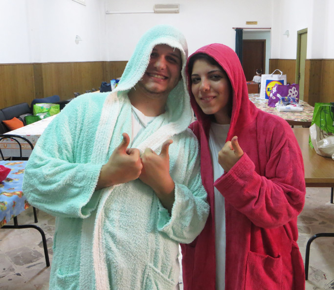 Manuel and Aurora smile after their baptism