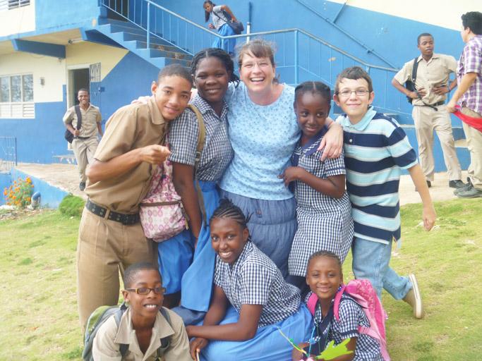 MaryBeth Moore (center) with students at Maranatha.