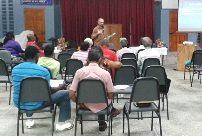 Skip Tobin (center) leads the Saturday session of a church planting seminar in Trinidad.