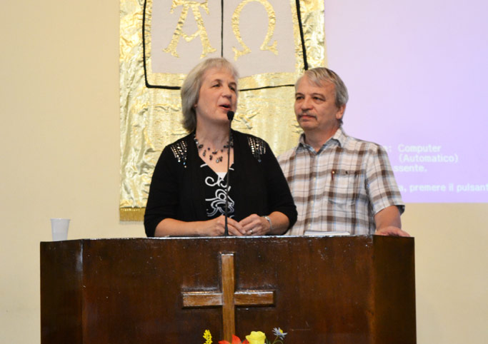 Janet and Floyd Blosser bring greetings from Virginia to the Italian Mennonite Church Conference.