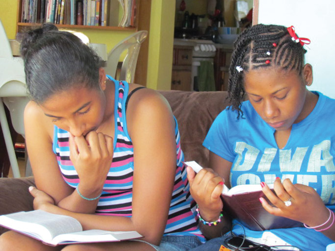 Abby and Shanice during a Bible Study. Courtesy photo