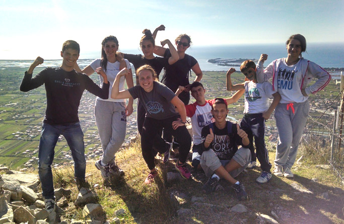 Katrina Schmid (front center) poses with some of her students at Lezha Academic Center on a hilltop overlooking the city of Lezhë. Courtesy of author