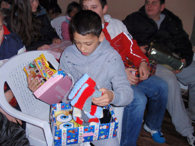 Christmas shoebox distribution in Montenegro, one of the Alternative Christmas Gift projects. Photo by OM International