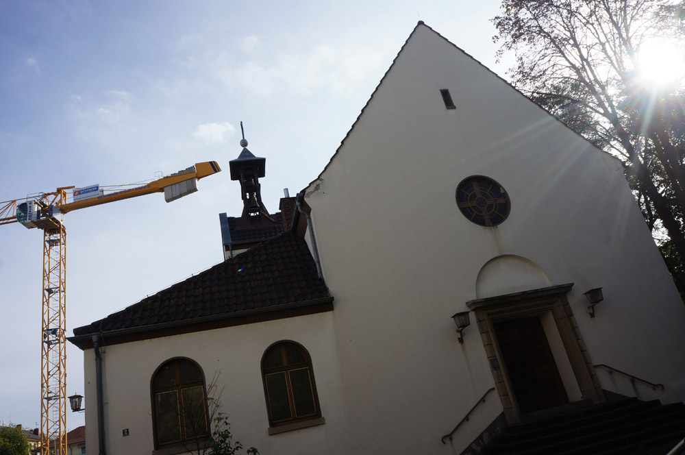 The front entrance to the Protestant church the Stutzmans relate to, with a crane in the background.