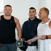 Vince Ramella and gym mates, Kosovo