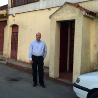 Steve Campbell outside the church in Montenegro.