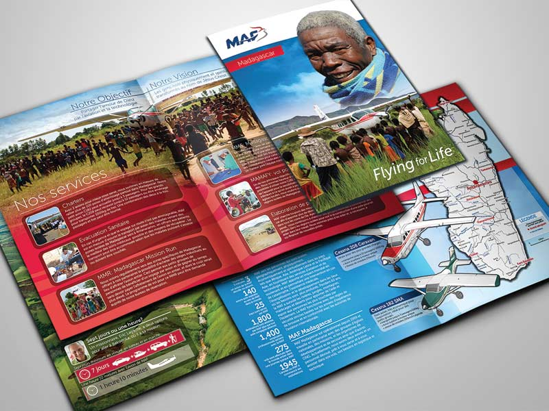 A sample of J.T.'s professional work in graphic design. This is a French-language brochure for Mission Aviation Fellowship (MAF) in Madagascar. Courtesy of author