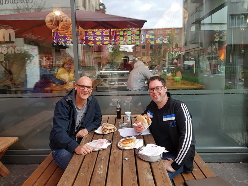 David Stutzman (right), VMMissions worker in Germany, meets with his friend Uwe for discipleship and Bible study at a nearby kebab restaurant.