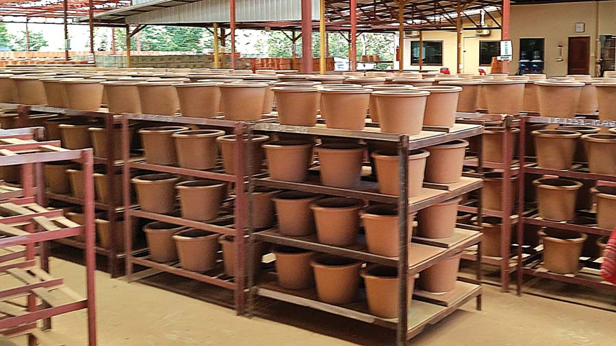 Rows of ceramic water filters at the plant in Southeast Asia. Courtesy of Carol Tobin