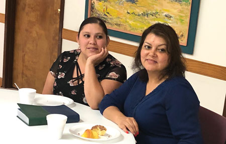 Veronica Sanchez (right) holds a Bible study with Berenice (left). Courtesy photo