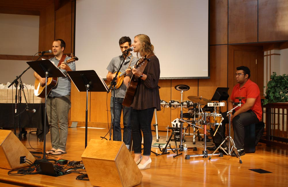 VMMissions local workers Seth Crissman and Rachel Yoder led worship through music, including both classic hymns and more contemporary songs. Photo: Jon Trotter