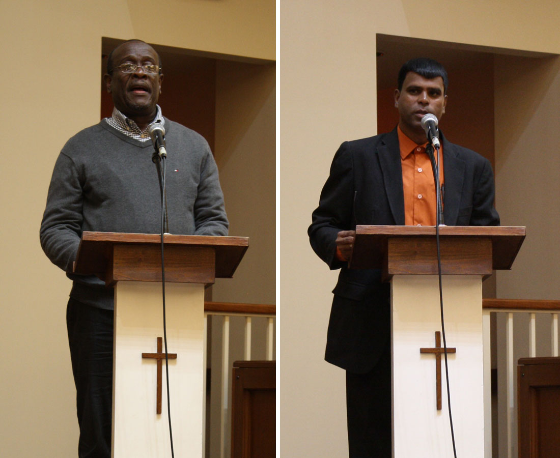 International partners William George Broughton (left) from Jamaica, and Deolal Ramdial from Trinidad, shared greetings and reflections on the impact of the international church relationships with VMMissions.
