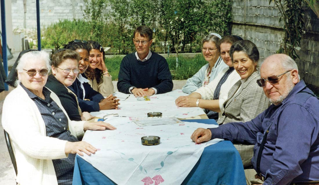 A group from Dayton, Va., visited Lezhë, Albania, in 2002. They are joined by Albania workers Norma Teles (third from left), Allen Umble (center), and Italy worker/VMMissions staff member Eva Eberly (second from right). Courtesy photo
