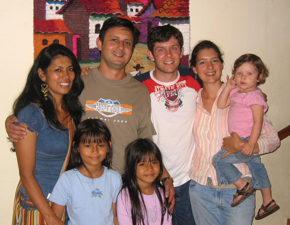 VMMissions president Aaron Kauffman (center), his wife Laura, and daughter Abigail (right) served in La Mesa, Colombia, in the first class of tranSend in 2005. Here they are joined by Martín, Elsy, Ana, and Stephany González. Courtesy photo