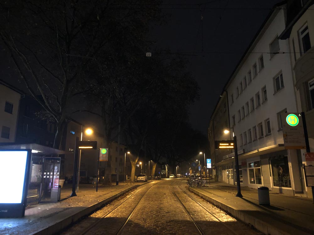 Deserted street on New Year's Eve